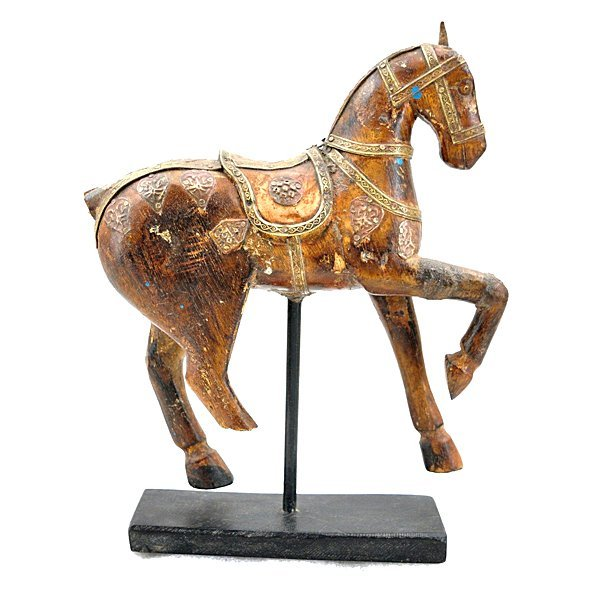 "Vintage Carved Wood Figure of Horse 10"" - 2"