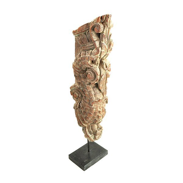 """Antique Architectural Wood Fragment on Stand 28"""""""