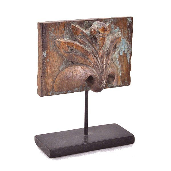 """Architectural Carved Wood Fragment on Stand 7"""""""