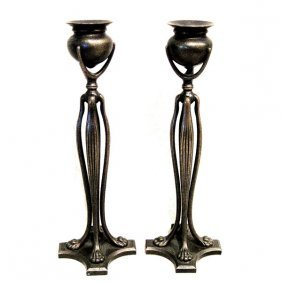 Pair Of Tiffany Studios Bronze Candlestick Holders