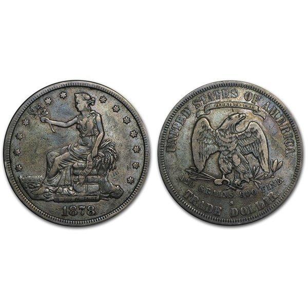 1878 S Trade Silver Dollar - Fine