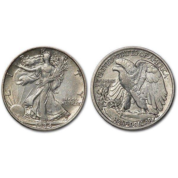 1934 S Walking Liberty Half Dollar - AU