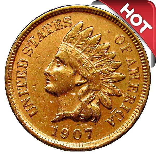 1908 Indian Head Cent - AU / BU - 3 Diamonds