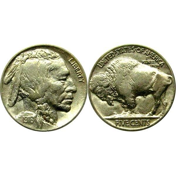 1916 Buffalo Nickel - AU