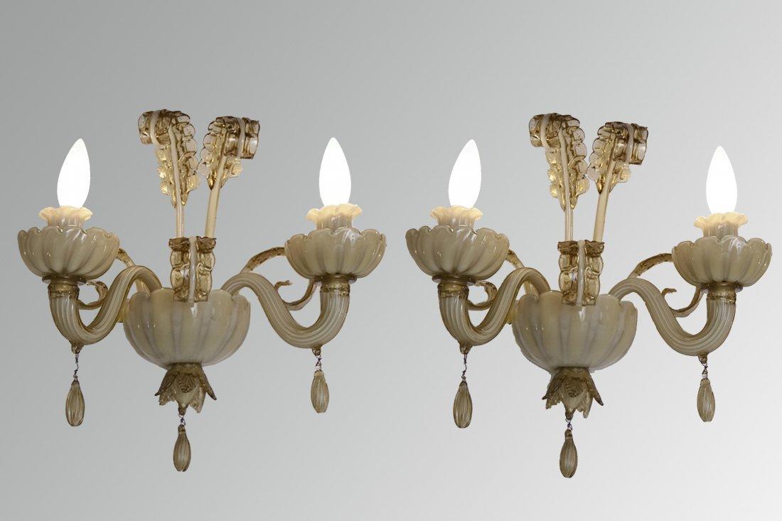 Veronese Two Arm Sconces, Pair