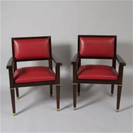 Acajou Armchairs by Jacques Adnet, Pair