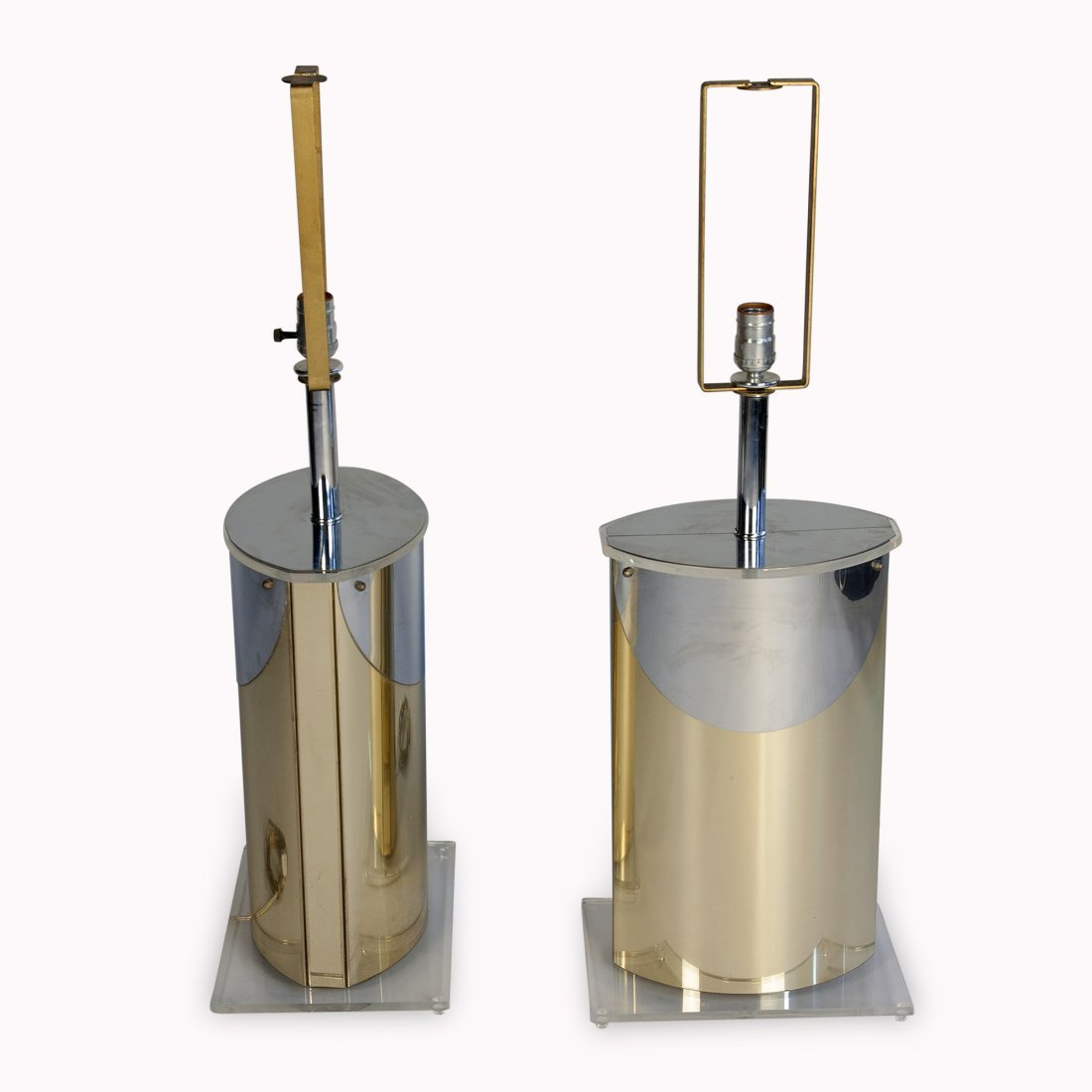 Chrome and Brass Table Lamps, Pair