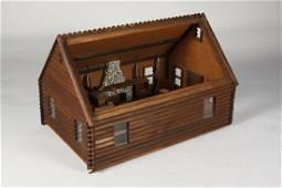 Elaborate Large Log Cabin Dollhouse, Old - FOLK ART
