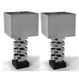 Pair of Jere Column Lamps