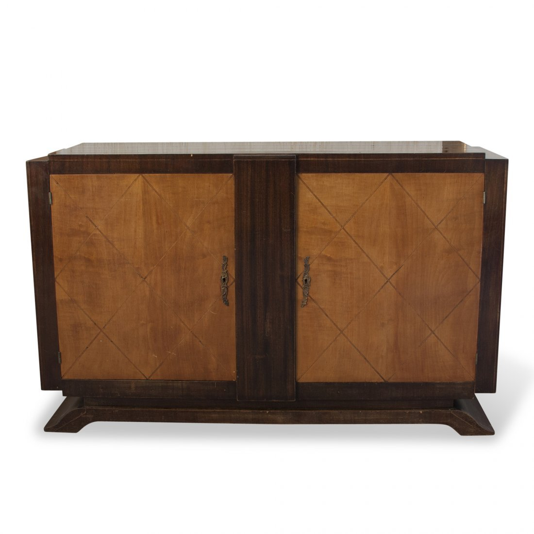 French 1940s Grid Two Door Cabinet