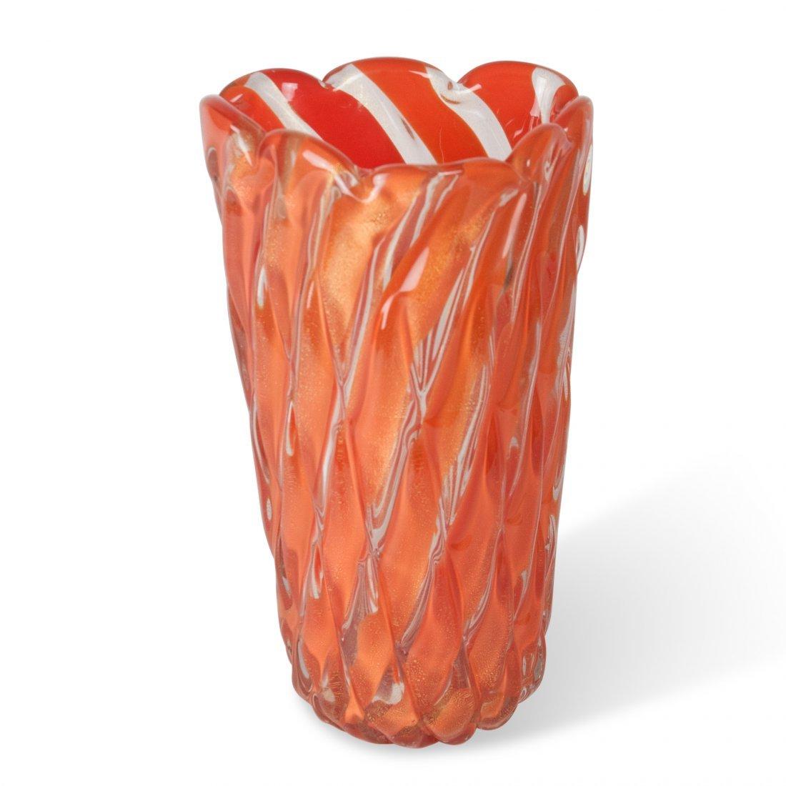 Orange Cased Glass Vase by Barovier