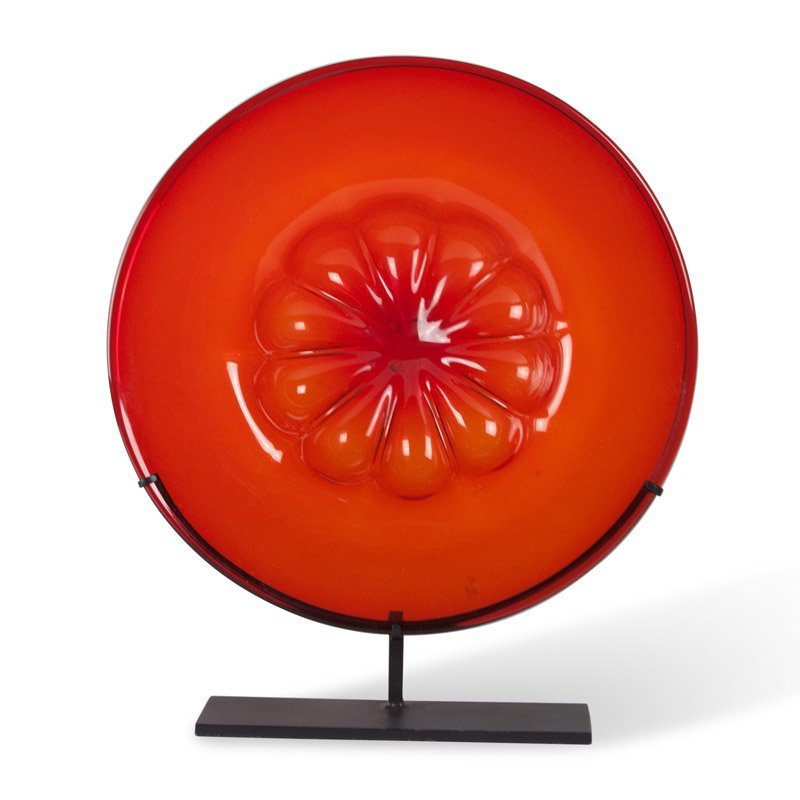 Red Tinted Glass Charger on Stand, Venini