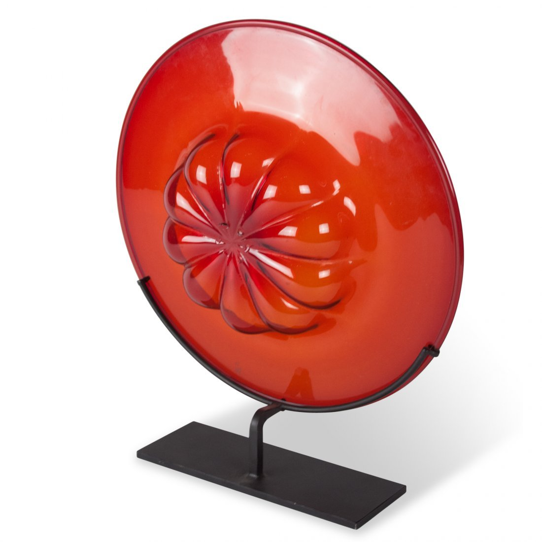 Red Tinted Glass Charger on Stand, Venini - 4