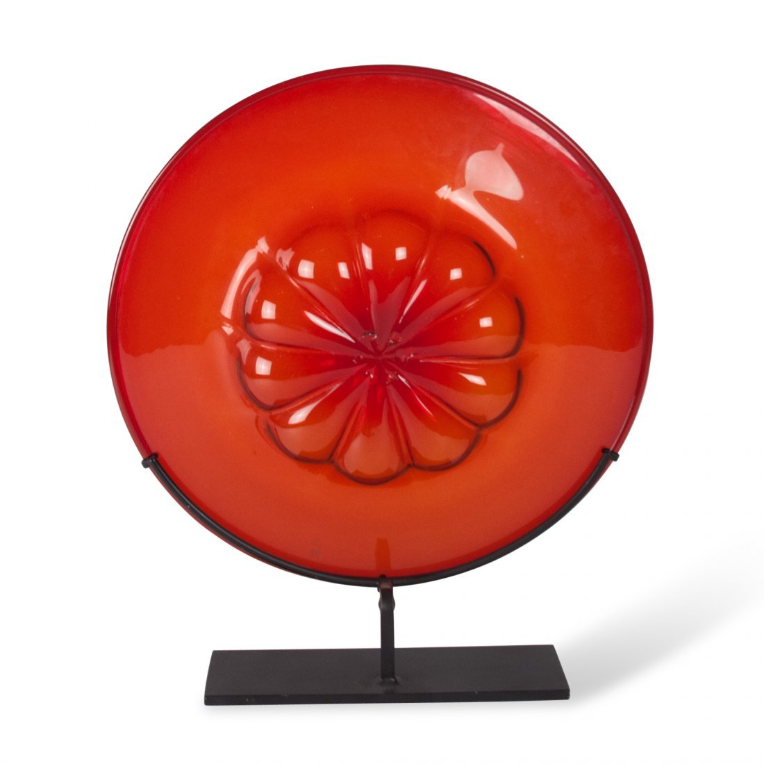 Red Tinted Glass Charger on Stand, Venini - 5