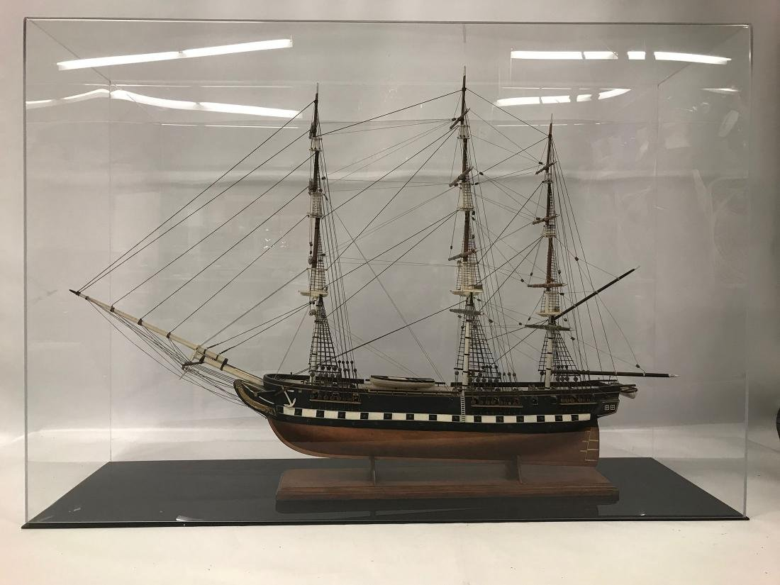Ships Model of USS Constitution with custom display