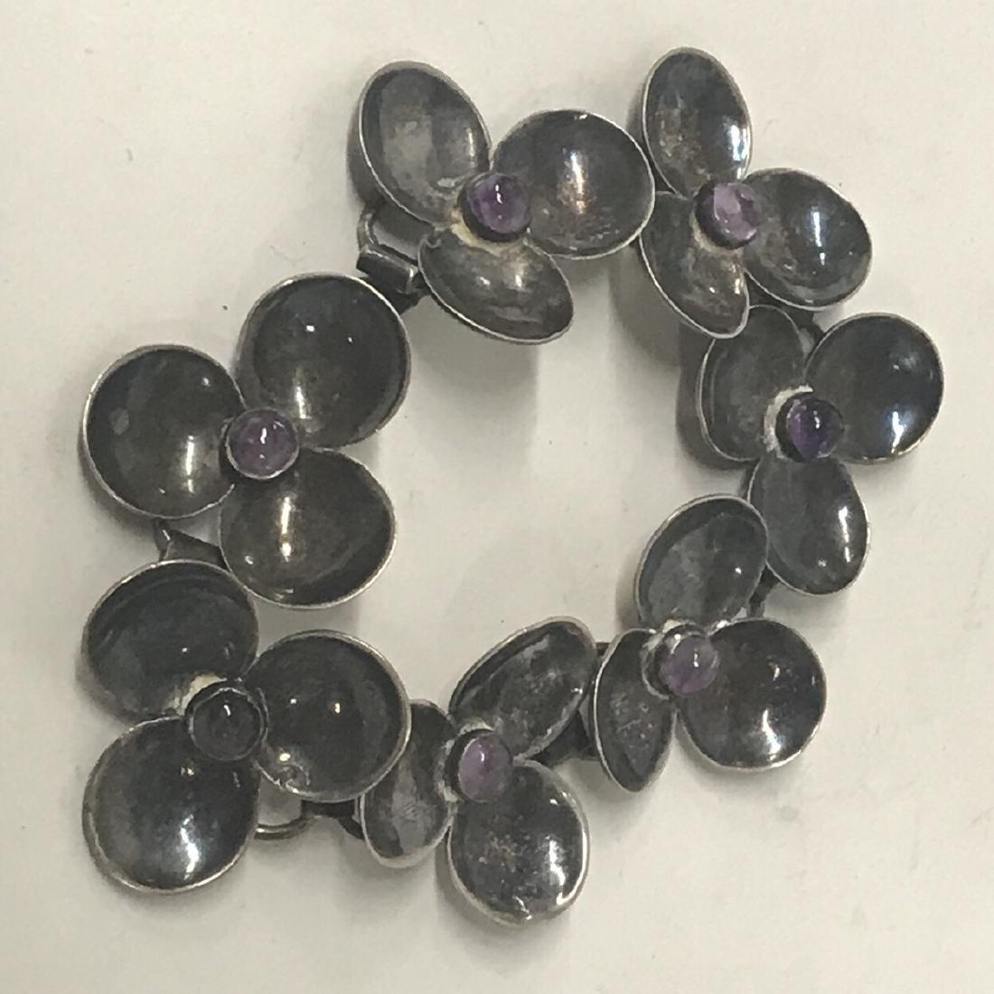Sterling Silver Amethyst Floral  Bracelet