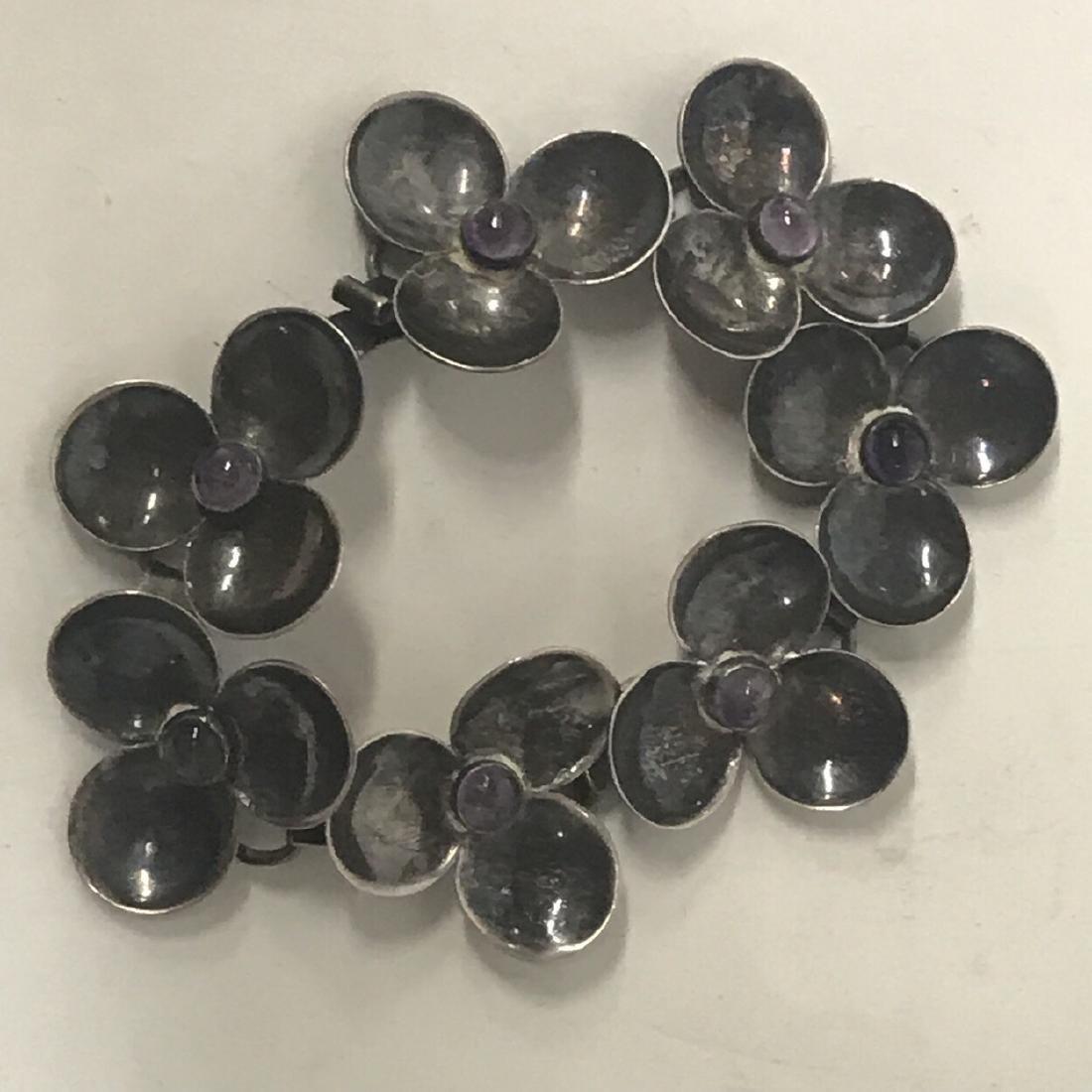 Sterling Silver Amethyst Floral  Bracelet - 2