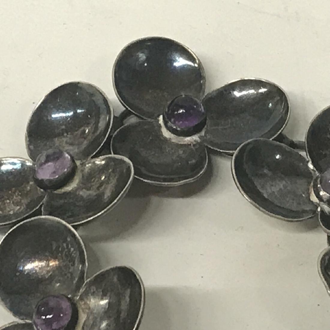 Sterling Silver Amethyst Floral  Bracelet - 3