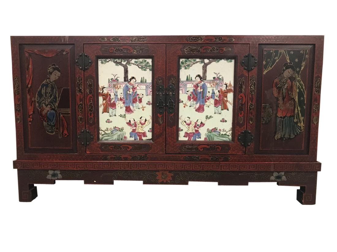 Chinese Credenza on stand with porcelain doors