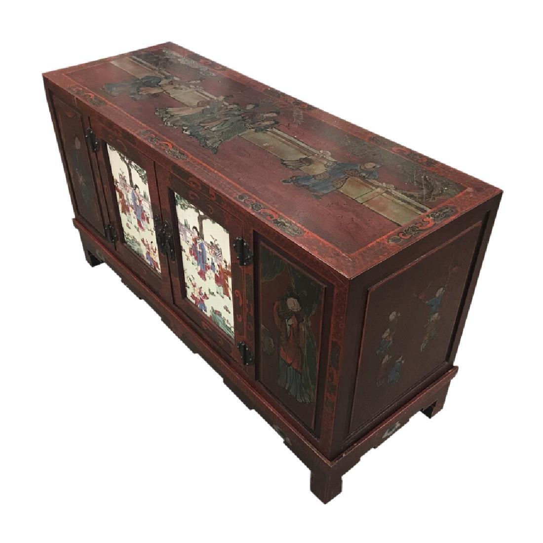 Chinese Credenza on stand with porcelain doors - 2