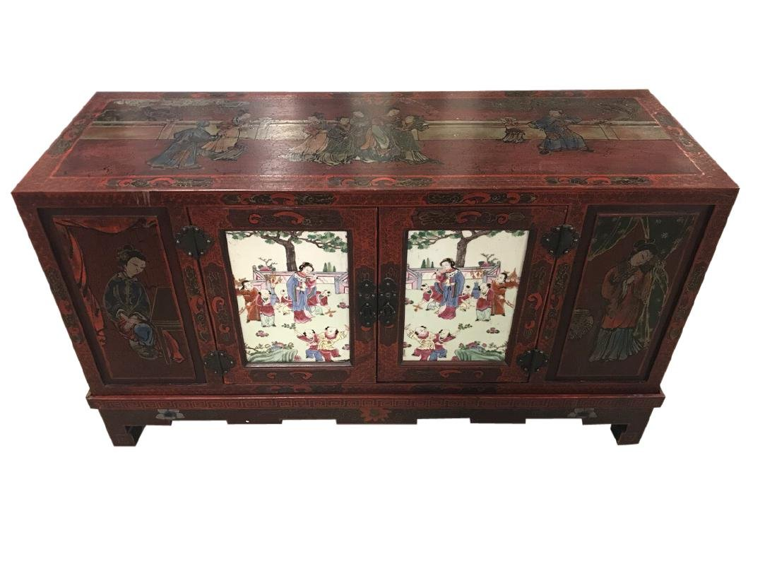 Chinese Credenza on stand with porcelain doors - 3