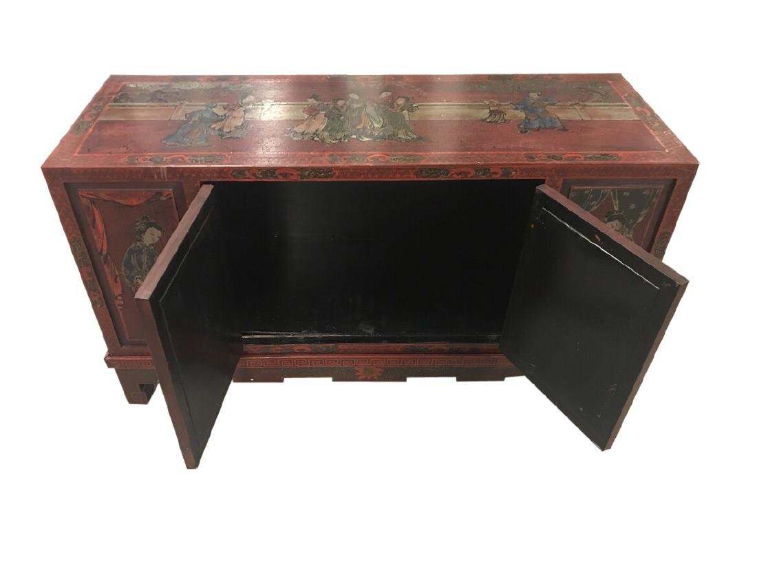 Chinese Credenza on stand with porcelain doors - 4