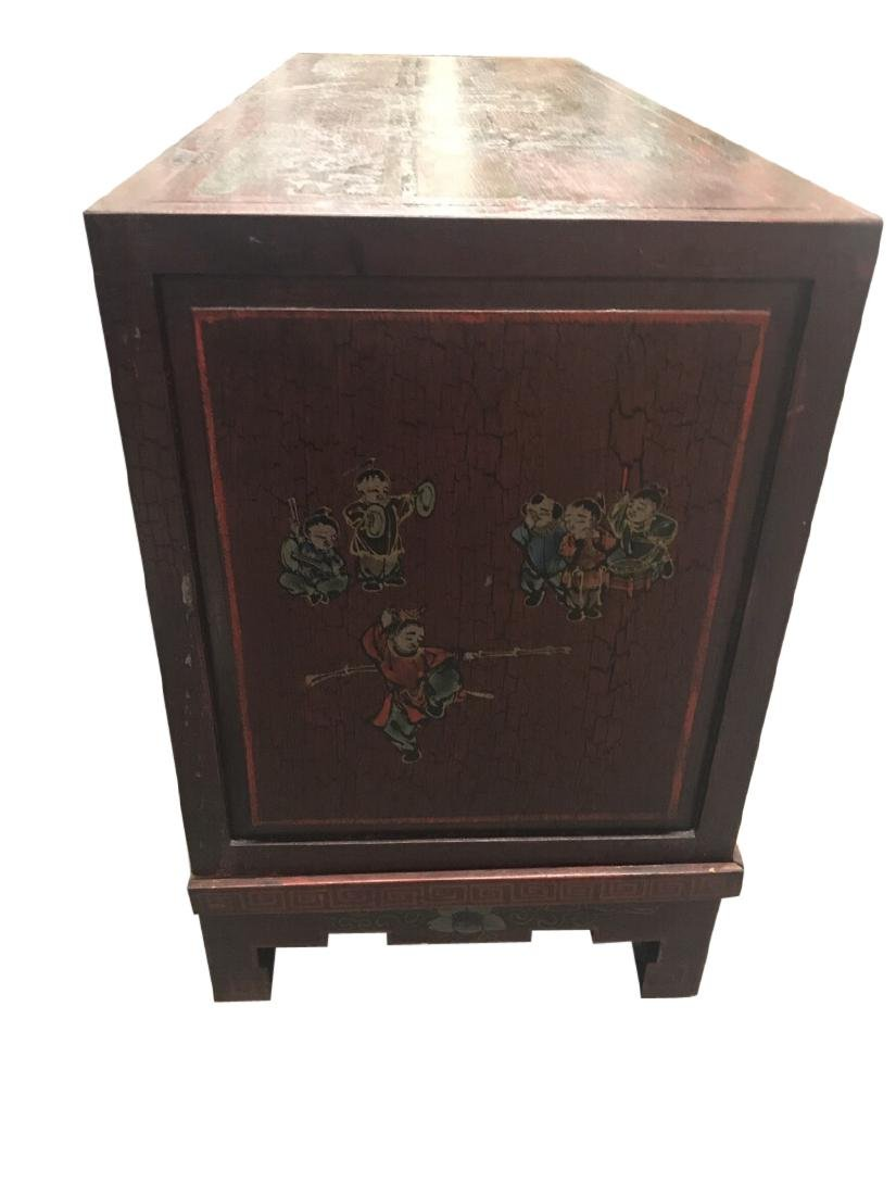 Chinese Credenza on stand with porcelain doors - 6