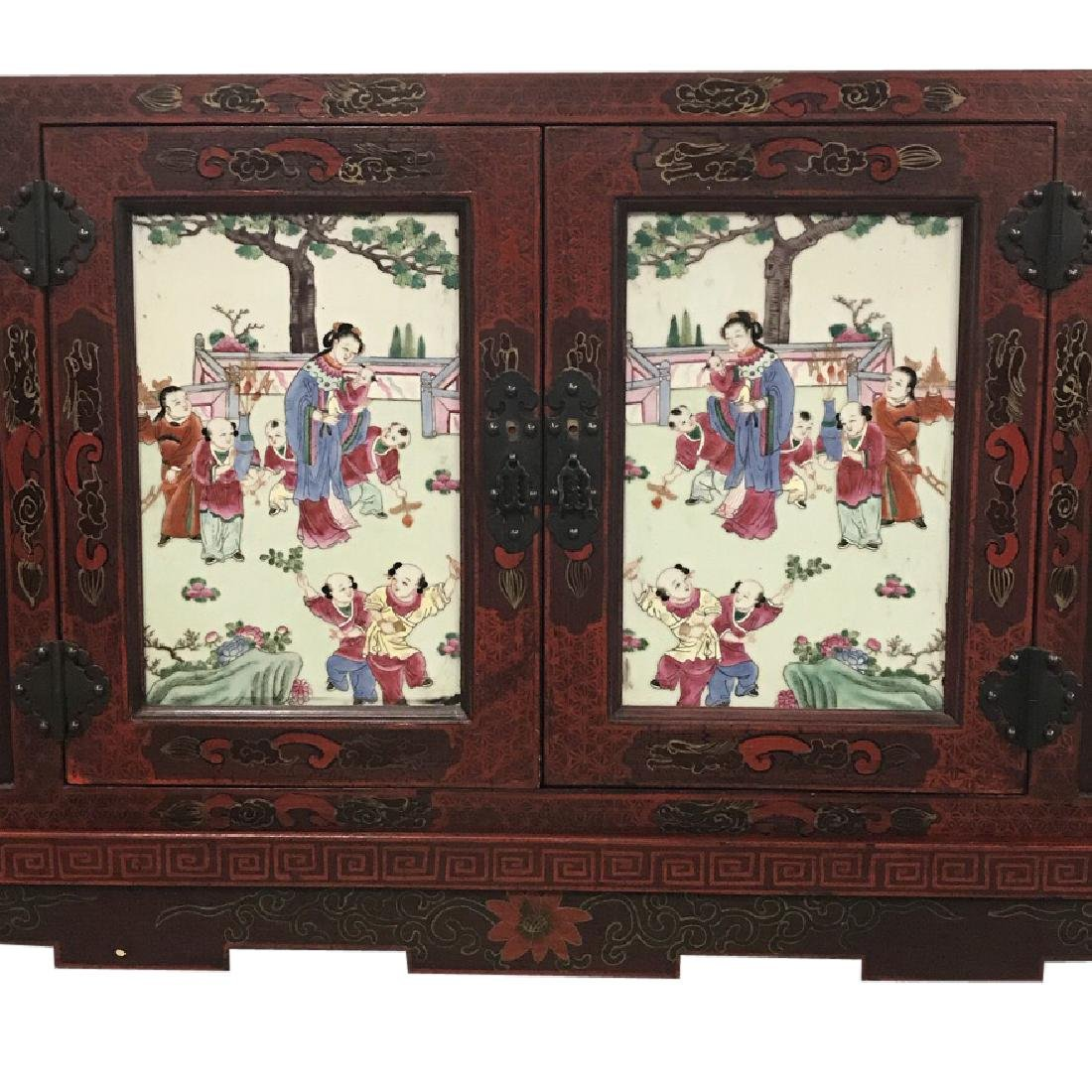 Chinese Credenza on stand with porcelain doors - 7