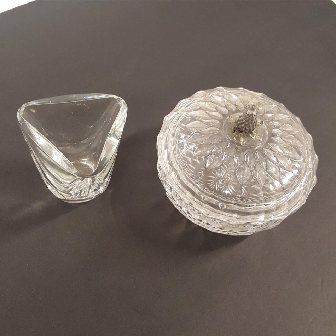 Val St Lambert Vase and covered Vanity Jar