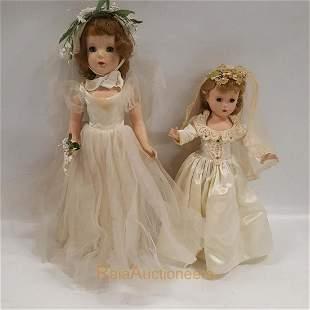 vintage MADAME ALEXANDER Bride Dolls, composition