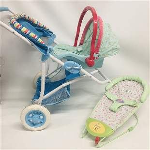 American Girl Bitty Baby Bouncer, Car Seat and Stroller