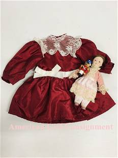 Christmas Cranberry Party Dress American Girl Doll