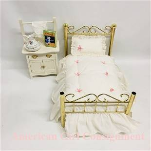 Samantha Vanity and Brass Bed American Girl Doll