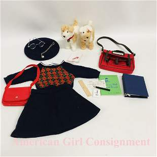 American Girl Doll Molly Meet Outfit School Bag and Dog
