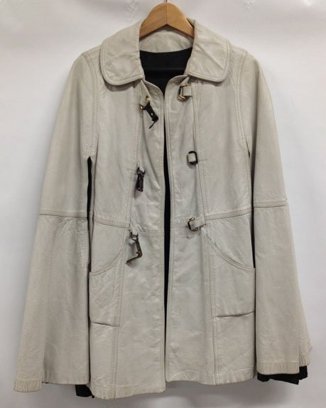 Vintage Leather Cape  - size medium - white