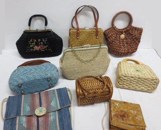Nine Vintage Woven / Straw Bags and Purses - Mantessa