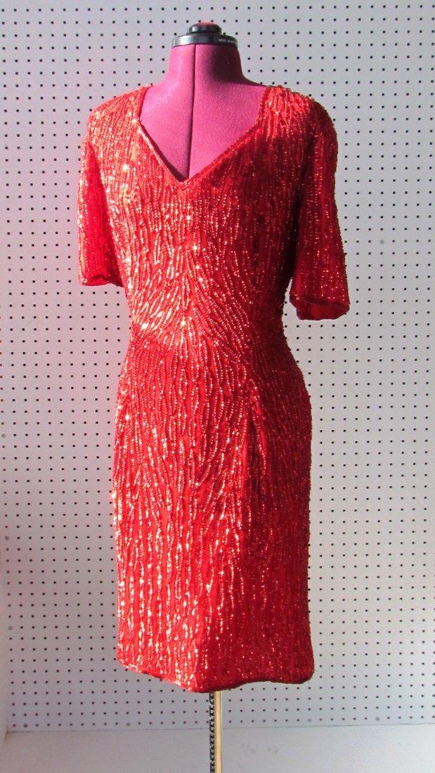 Vintage Red Stenay Dress - Sequins