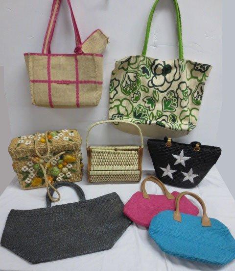 8 straw / woven bags  incl. Beaded  Bijoux Terner