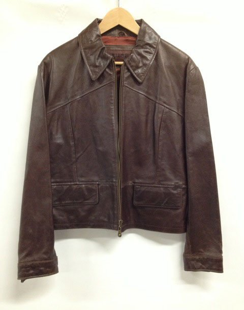 GUESS Brown Distressed Leather Jacket