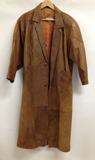 Long Vintage Brown Leather Coat - size S