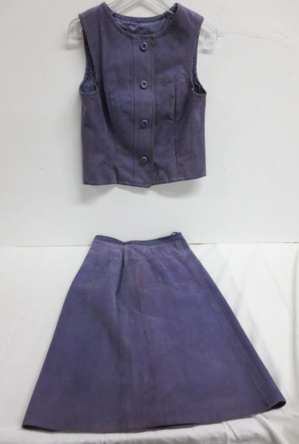 Custom made Purple Leather Skirt Suit