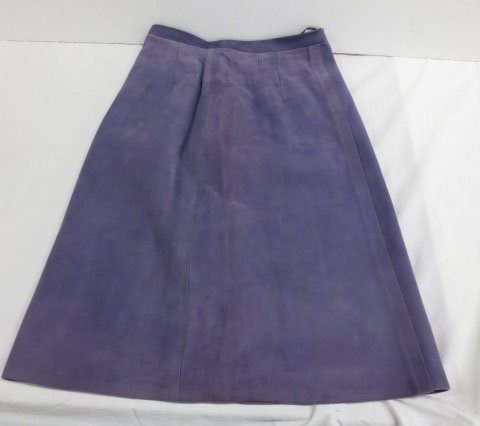 Custom made Purple Leather Skirt Suit - 7