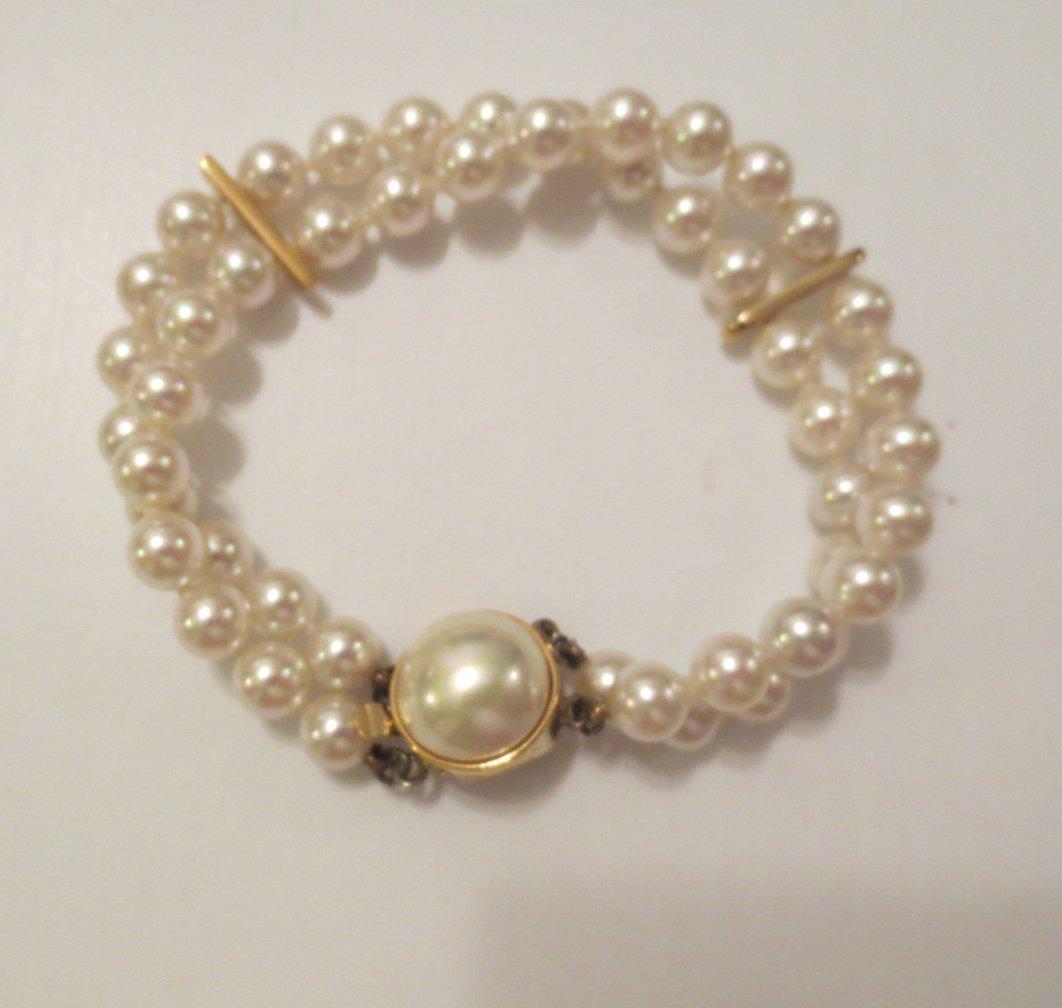 Sterling Silver Vermeil and Pearl Bracelet