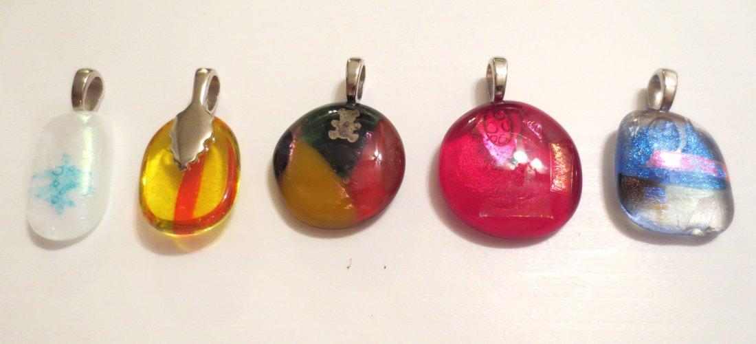 Five Dichroic Glass Pendants