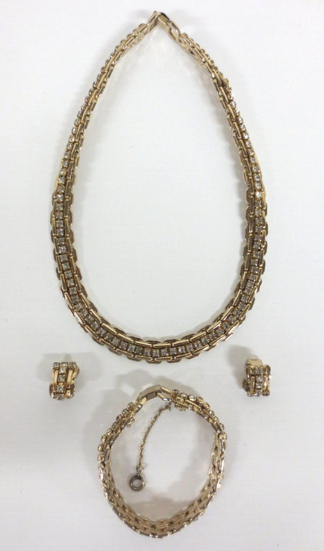 Vintage Kafin Rhinestone Costume Jewelry Set