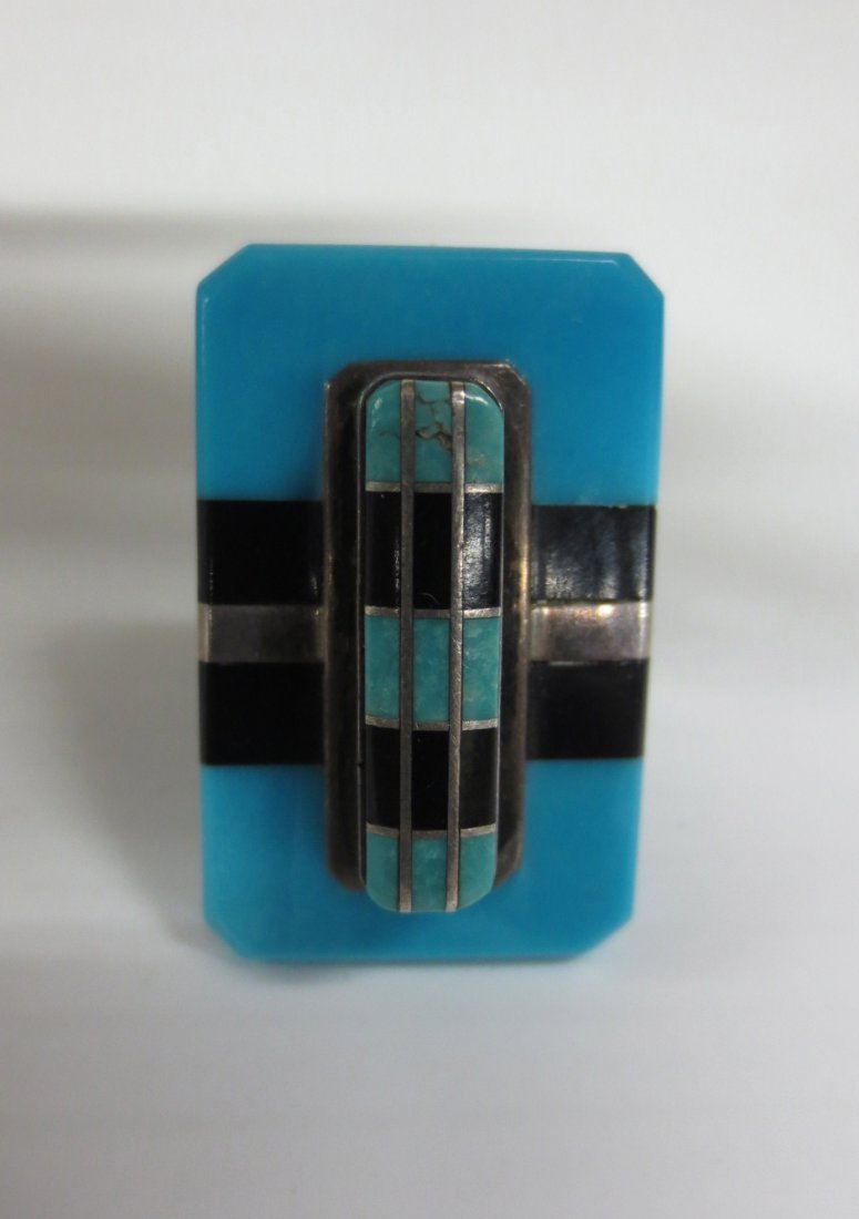 Sterling, Turquoise and Onyx banded ring