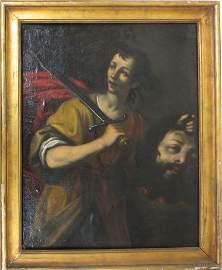 School of Caravaggio oil painting David slaying Goliath
