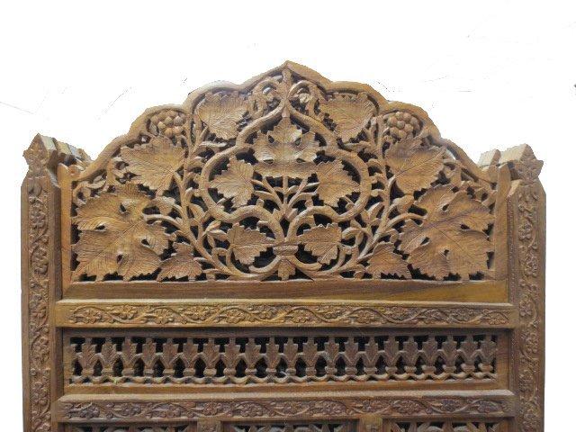 Chinese Fretwork Carved Teak Four Panel Floor Screen - 2