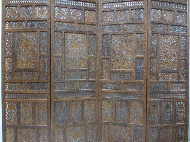 Chinese Fretwork Carved Teak Four Panel Floor Screen - 3