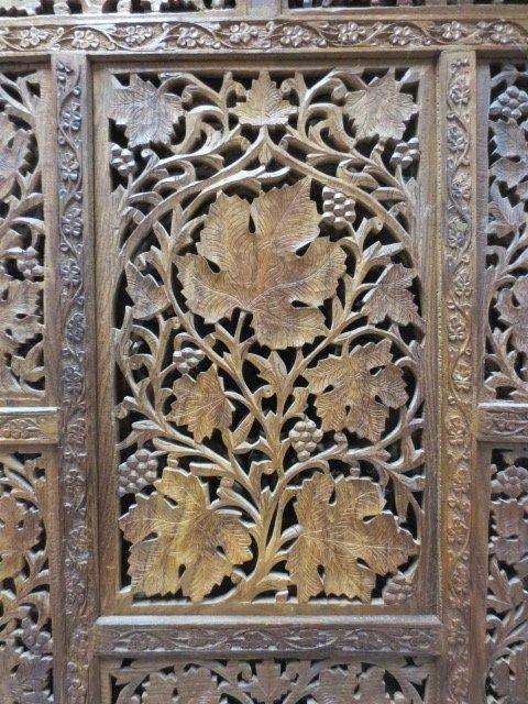 Chinese Fretwork Carved Teak Four Panel Floor Screen - 5